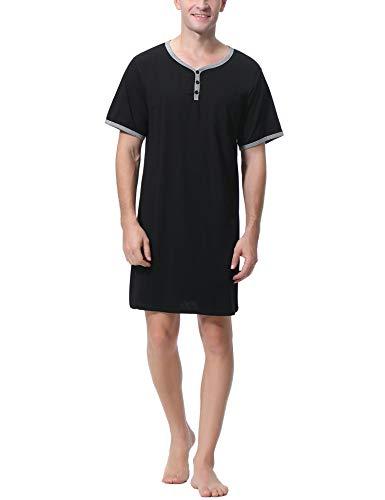 Sykooria Herren Nachthemd Kurzarm Sleepshirt Schlafanzug Herren Sleepshirt Bequeme Nachtwäsche mit Tasche für Spa Krankenhaus, Schwarz XL