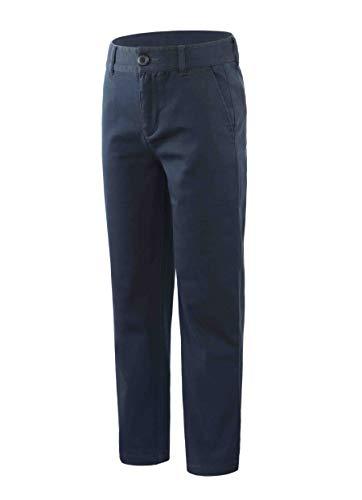 Bienzoe Niña Escolares Algodón Elástico Cintura Ajustable Pantalon Marina 16