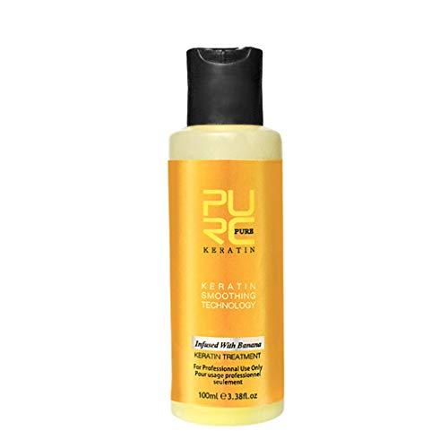 Mascarilla para el cabello acondicionador con sabor a plátano queratina para reparar el cabello encrespado dañado, crema hidratante para el cabello 100 ml (a)
