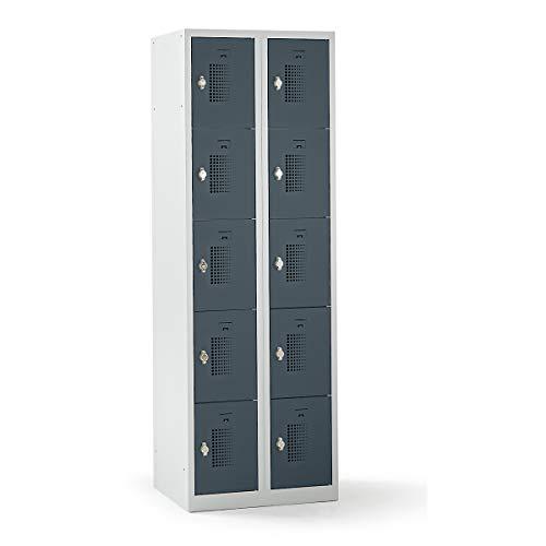 QUIPO Schließfachschrank mit Drehriegel für Vorhängeschloss, 10 Fächer - HxBxT 1800 x 600 x 500 mm, Korpusfarbe lichtgrau - Umkleideschränke Wertschutzschränke Unterkunftschränke Schließfachschränke