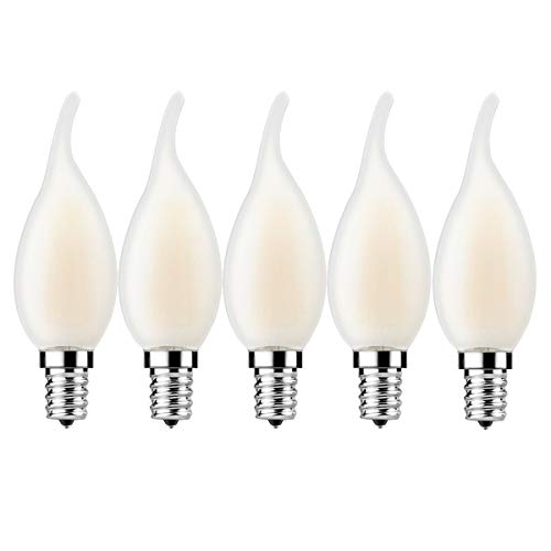 5er Pack E14 Kerze LED Kerzenbirnen Lampe, E14 4W Classic Kerzenform Filament,360 Lumen ersetzt 30 Watt, 2700K Warmweiß Filament Fadenlampe,Glas,Nicht Dimmbar