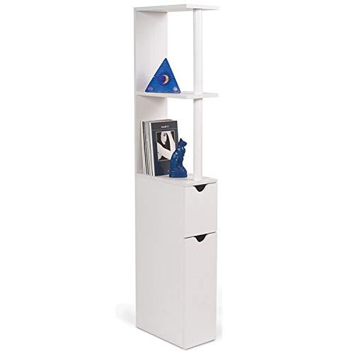 IDMarket - Meuble WC étagère WILLY bois gain de place pour toilette 2 portes blanches