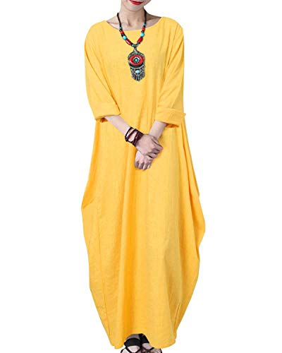 VONDA damska sukienka kaftan sukienki maxi z długim rękawem na co dzień luźna vintage bawełniane suknie