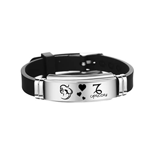 TENDYCOCO Gemini sterrenbeelden sterrenbeeld teken armband verstelbare roestvrij staal siliconen armband verjaardag sieraden gift M Capricorn