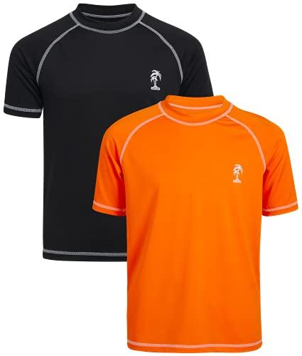 iXtreme Boys' Rash Guard - 2 Piece UPF 50+ Short Sleeve Swim Shirt (Big Boy), Size 10/12, Orange/Black