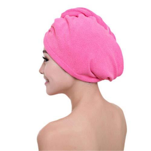 MAWA Toalla de baño de Microfibra Secado de Cabello Secado rápido Toalla de baño para Dama Ducha Suave para Mujer Hombre Turbante Abrigo para la Cabeza Herramientas de baño - Rojo