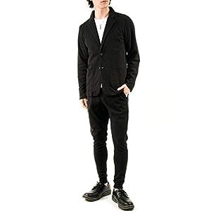 [トップイズム] 上下セット メンズ セットアップ TCポンチ スウェット 無地 テーラード ジャケット ジョガーパンツ アウター ズボン 1-ブラック LLサイズ
