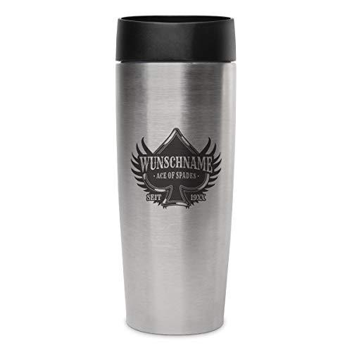 Metmaxx Thermobecher Isolierbecher Kaffeebecher 0,4l inkl. individueller Gravur - Ace of Spades