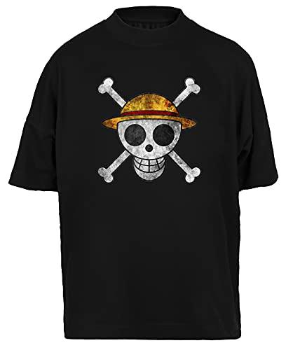 Hopestly Anime Straw Hat Pirate Maglietta Larga Unisex da Donna Uomo Nera Cotone Organico Tee Baggy T-Shirt Unisex Black M