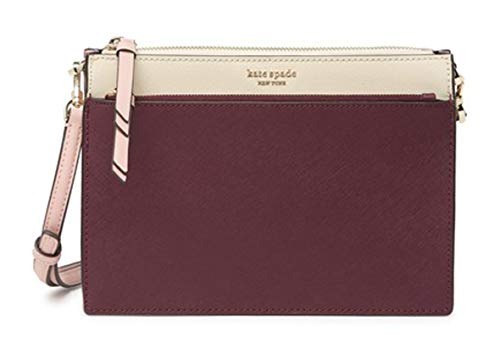 Kate Spade New York Leather Cameron Zip Crossbody Shoulder Bag, Cherrywood, Warm Vellum