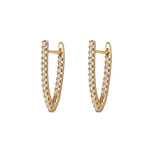 YFZCLYZAXET Pendientes Mujer Joyería Casual De Moda Pendientes En Forma De V Pendientes De Circonio Pendientes Clásicos Simples-Oro
