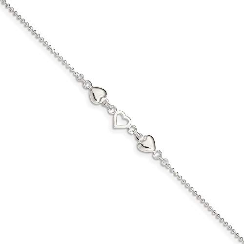 925 Sterling Silver 9 Inch Plus 1 Adjustable Chain Size Extender Hearts Anklet Ankle Beach Bracelet Fine Jewelry For Women Gifts For Her