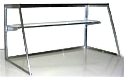 Carib 8 FT Glass Sneeze Guard with Shelf for Commercial Steam Table or Salad Bar