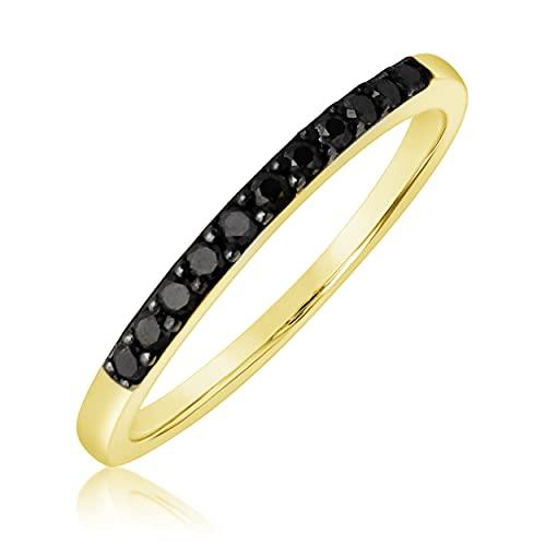 Mille Amori ∞ Anillo de compromiso de oro y diamantes negros naturales para mujer ∞ Oro blanco de 9 quilates 375 ♥ Diamantes negros naturales de 0,11 quilates