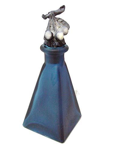 WORKING HOUSE (Trofeos-Boda-Comunión) Botella PIRAMIDE FLORERO VIOLETERO Cristal Decorado TAPON Resina Azul