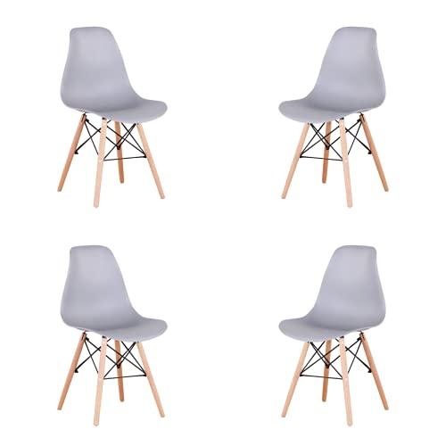 Silla de comedor clásica nórdica con forma de concha de plástico y patas de madera maciza, soporte de metal para cocina, sala de estar, negocios, juego de 4 (gris, 4)