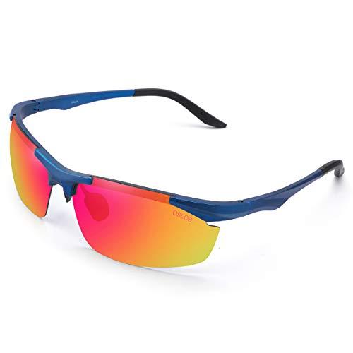 OSLOB Gafas De Sol Deportivas Polarizadas para Mujer, Hombre, Ciclismo, Conducción, Conducción, Protección UV, Gafas ST001 |Azul|