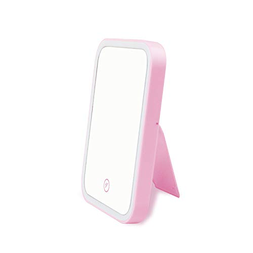 FExYinz Battery Powered and USB Rechargeable Makeup Mirror Lamp LED Mirror Light Portable Illuminated Cosmetic Mirror Pink Color