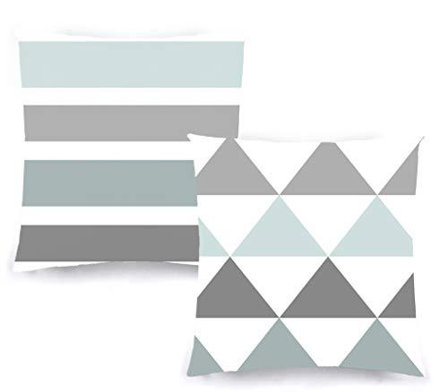 Decoratea Fundas Cojines 50x50 - Fundas de Cojín Decorativo (Juego de 2) para Sofá, Cama, Silla, Salón, Coche. Muy Suaves, Modernas y con Cremallera Invisible (Nórdico Azul)