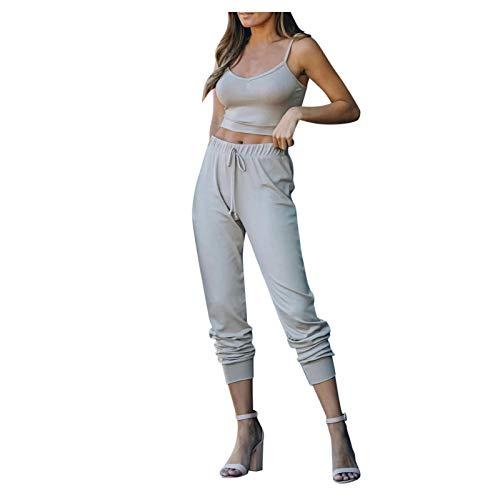Pistaz Traje de yoga para mujer, monocolor, sin mangas, con tirantes y cintura alta, pantalones elásticos, ropa básica para correr, gris, 3XL