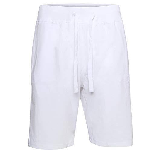 ProGo Men's Athletic Premium Track Short Pants-Gym Workout Training Shorts (White, Large)