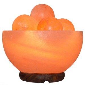 IQ Salt Lamp Bowl with 5 Salt Balls, 7-8 inch Tall, Himalayan Massage Ball Salt Lamp Bowl