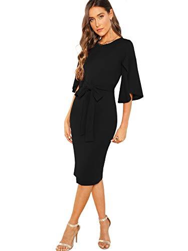 Floerns Women's Ruffle Sleeve Tie Waist Cocktail Party Bodycon Pencil Midi Dress Black XS