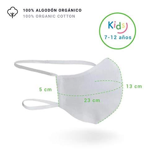 Mascarilla Higiénica Lavable R40 100% Algodón (Infantil 7-12 Años, Pack 2 Unidades)
