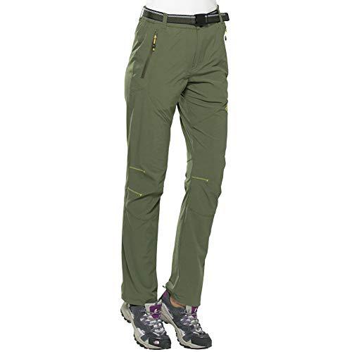 FLYGAGA Damen Mädchen Outdoor Hose Outdoorhose Wanderhose Trekkinghose Schnelltrocknend Elastisch Hose Funktionhose für Wander und Outdoor-Aktivitäten (Grün-16, S)