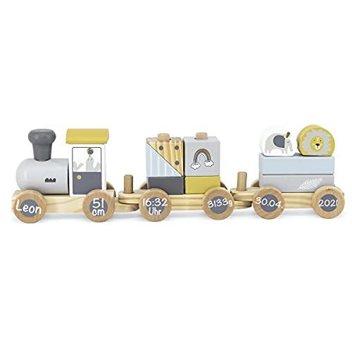 Babygeschenk zur Geburt - Personalisierte Holzeisenbahn Holzzug mit Steckformen Mädchen Junge | Tryco | Personalisiert mit Geburtsdaten und Namen