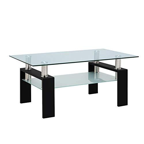 ASSR Tavolino da caffè trasparente con piano in vetro,Tavolo da cocktail TV Stand con ripiano aperto portaoggetti,Moderni tavolini laterali per soggiorno e ufficio