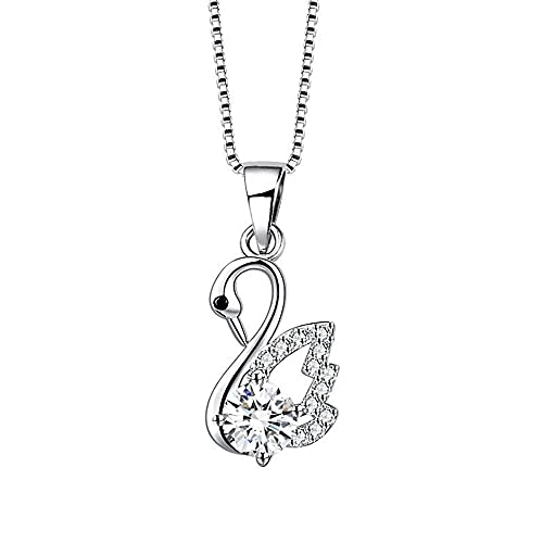 Sxcespp Little Swan Pendant Necklace, 925 Silver Fashion Jewelry, Box Packaging, Handmade Creative Silver Chain Jewelry For Women, Friend's Birthday Gift