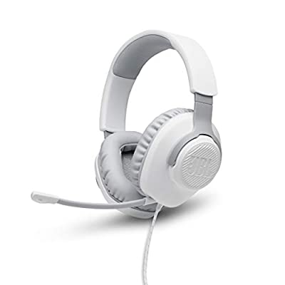 JBL Quantum 100 Wired Over-Ear Gaming Headset with Boom Mic, PC and Console Compatible, in White from Harman