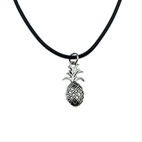 Nuevo Colgante de piña de Fruta de Plata Antigua, Collar de Cadena de Cuero Negro y Negro, joyería Vintage para Mujeres y Hombres, Collares con dijes Bonitos