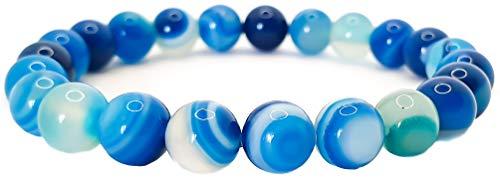 Pulsera elástica para hombre y mujer, con piedras preciosas naturales de 8 mm, para reiki, idea de regalo de cumpleaños, original difusor de energía para curar el equilibrio Agata Blu