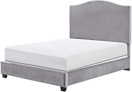 Crosley Furniture Bellingham Upholstered Platform Bed and Camelback Headboard, King, Shale Microfiber