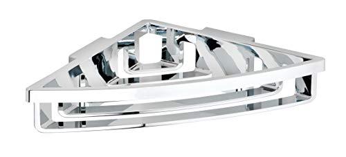 Wenko Power-Loc Eck-Duschablage Bralia, praktisches Duschregal für das Badezimmer, Befestigung ohne Bohren, Kunststoff, 34,5 x 7 x 19,5 cm, chrom