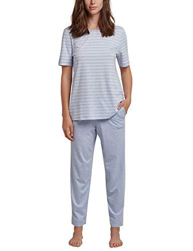 Schiesser Damen Anzug 7/8, 1/2 Arm Zweiteiliger Schlafanzug, Blau (Hellblau 805), 38 (Herstellergröße: 038)