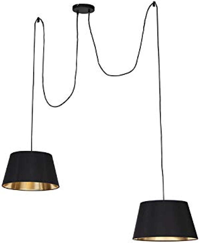 QAZQA Modern Moderne Hngelampe schwarz - zweifach  2-flammig Innenbeleuchtung Wohnzimmerlampe Schlafzimmer Küche Textil Stahl Zylinder Rund LED geeignet E27 Max. 2 x 60 Watt