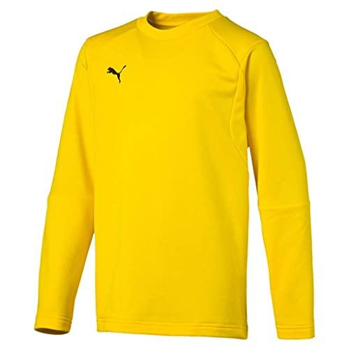 PUMA Kinder Liga Training Sweat Jr Sweatshirt, Cyber Yellow Black, 140