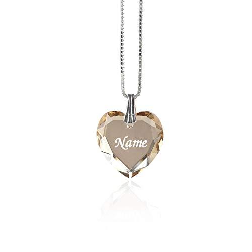 Damen Halskette 925 Sterling Silber mit SWAROVSKI ELEMENTS Herz Anhänger Golden Shadow Herz und individueller Namensgravur