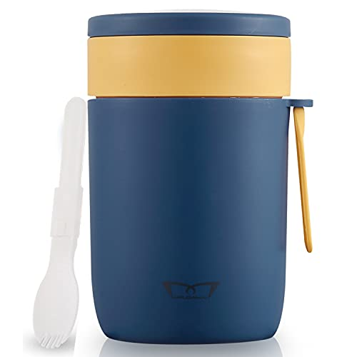 Mr.Dakai Insulated Container for Hot Food - Leak-proof Food Jar Soups Thermoses with Spoon, Kids Adults Thermal Vacuum Bento Lunch Box for School Office Work Picnic Travel Outdoors, 20oz, Blue