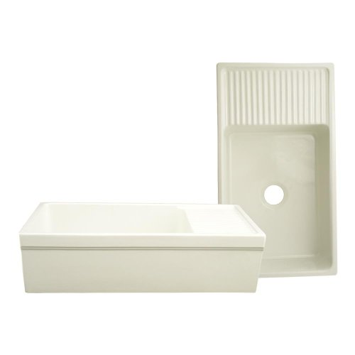Whitehaus Collection WHQD540-BISCUIT Quatro Alcove Kitchen, Fireclay, Front Apron Sink, Glossy, Biscuit