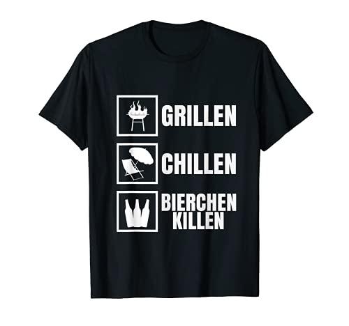 Herren Grillen Chillen Bierchen Killen Lustiges Bier BBQ Grill T-Shirt