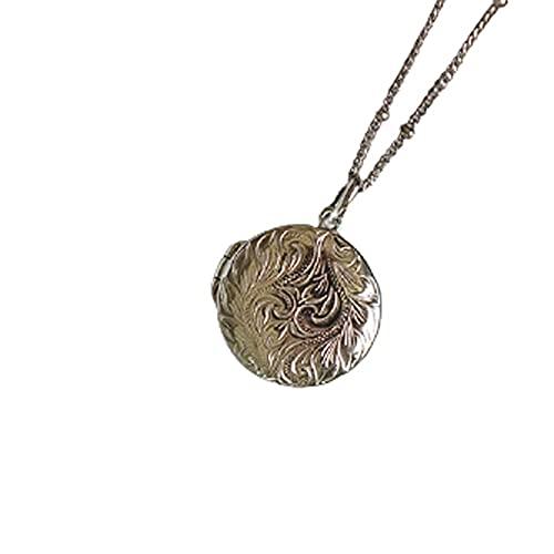 WFS Regalo Photo Locket Necklace 925 Plateado de Plata con Platino Que sostiene imágenes Collar de Joyas de Recuerdo Joyas (Color : Silver)