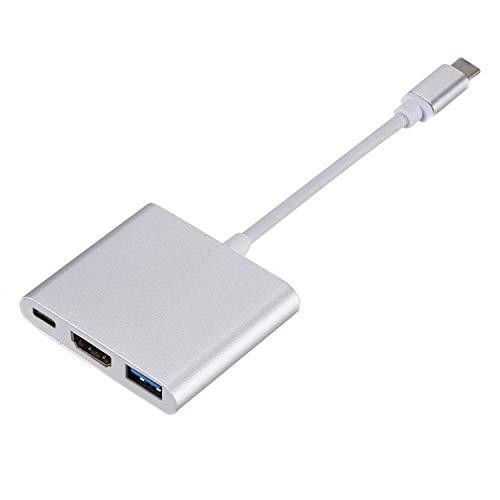 Adaptador USB C a HDMI, convertidor multipuerto 3 en 1 4K tipo C a HDMI con puerto USB 3.0 y puerto de carga rápida USB C compatible con MacBook, Chromebook, Dell XPS, Thunderbolt 3 y más (Plata)
