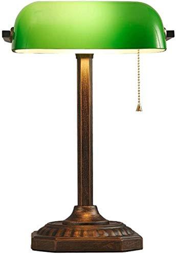 Lámpara de banquero tradicional base de latón pantalla de cristal verde esmeralda hecha a mano lámpara de mesa de oficina vintage lámpara de mesa de estilo antiguo base de latón