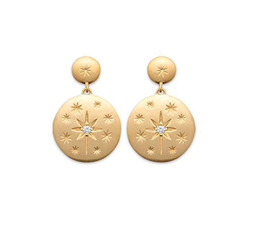 18K Gold Plated Star Constellation with Cubic Zirconia Star Drop Earrings - Free Velvet Bag