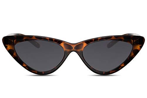 Cheapass Sonnenbrille Cat-Eye Schwarz Braun UV-400 Leo-Print Schmal-e Brille Katzenauge Plastik Damen