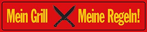 FS Straßenschild Mein Grill Meine Regeln! Blechschild Schild gewölbt Metal Sign 10 x 46 cm